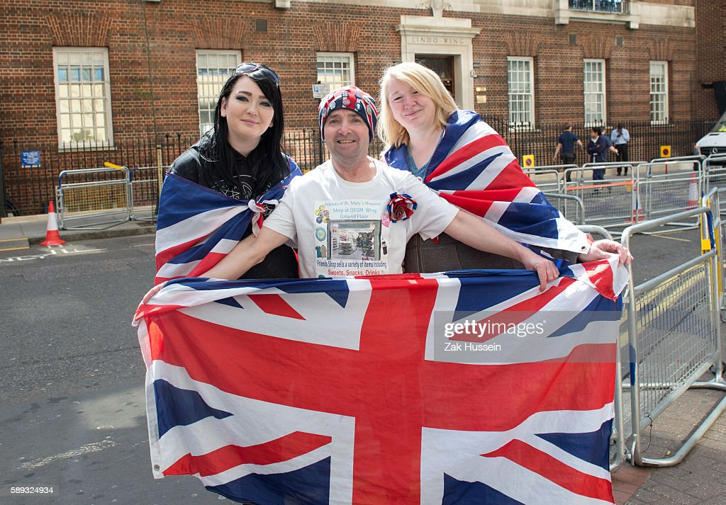 Fans gather outside the Lindo Wing of St Mary's Hospital in preparation for the birth of the second child of Prince William Duke of Cambridge and...