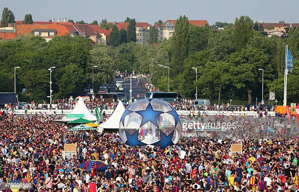 Fans gather outside the stadium prior to the UEFA Champions League Final between Juventus and FC Barcelona at Olympiastadion on June 6 2015 in Berlin...