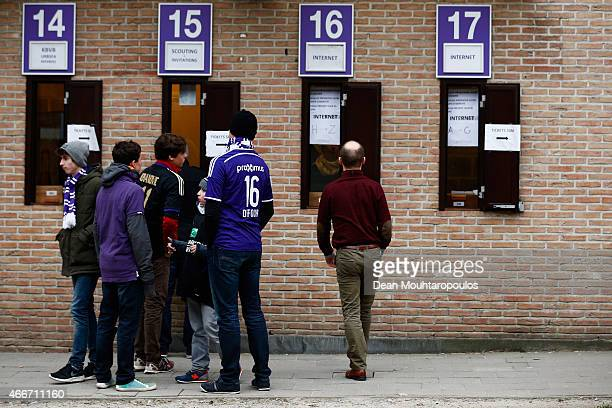 Fans gather outside the stadium prior to the UEFA Youth League quarter final match between RSC Anderlecht and FC Porto at Constant Vanden Stock...