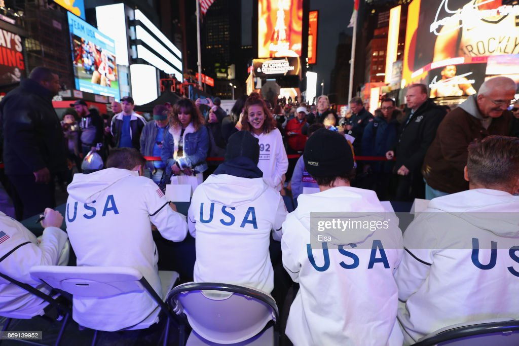 Fans gather to get autographers from Team USA members during the 100 Days Out 2018 PyeongChang Winter Olympics Celebration - Team USA in Times Square on November 1, 2017 in New York City.