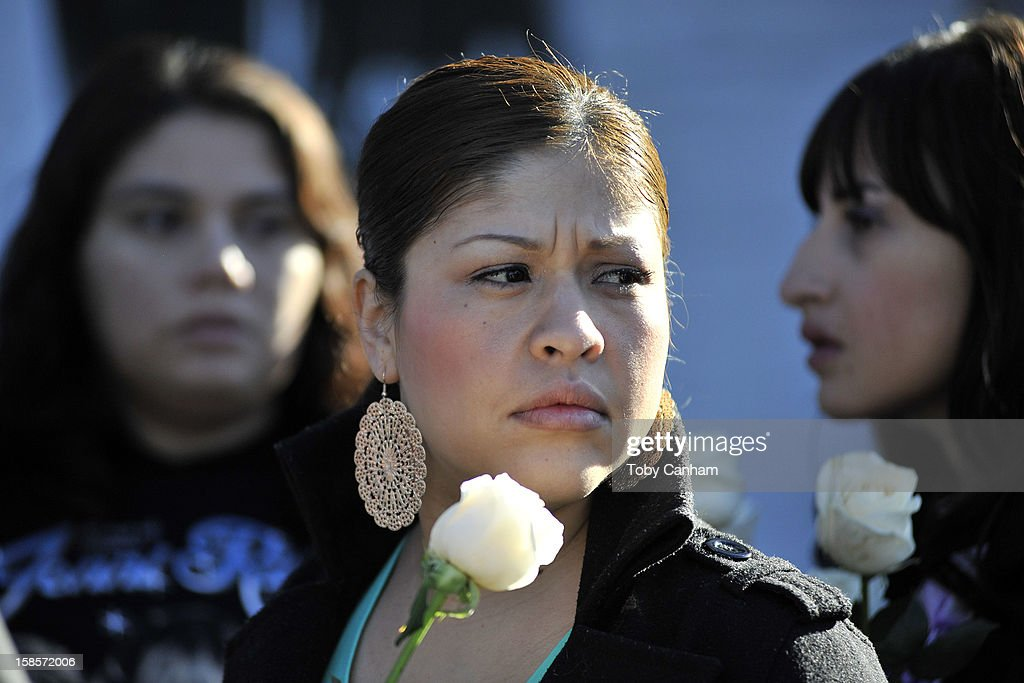 Fans gather to mourn the loss of singer Jenni Rivera at her memorial ceremony at Gibson Amphitheatre on December 19, 2012 in Universal City, California.