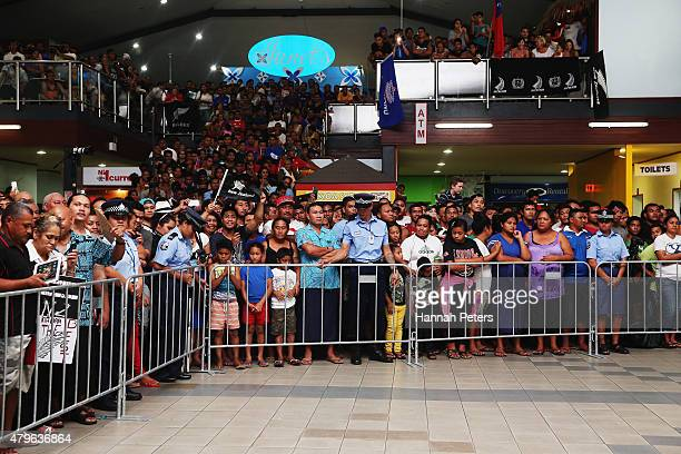 Fans gather to welcome the New Zealand All Blacks at Faleolo Airport on July 6 2015 in Apia Samoa