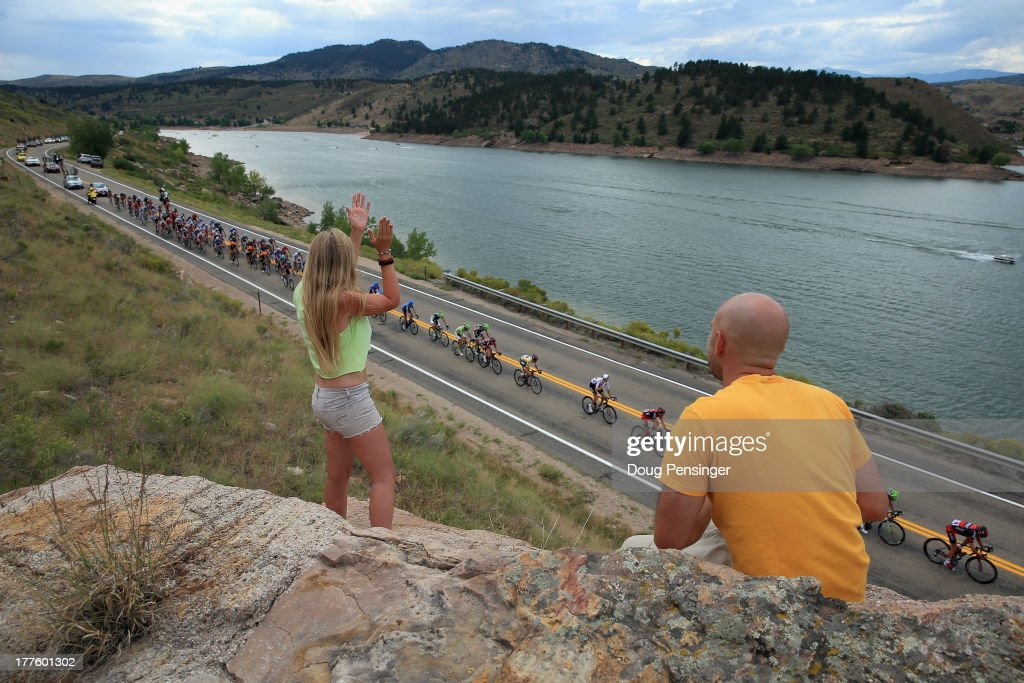 Fans get an elevated view as the peloton passes Horsetooth Reservoir during stage six of the 2013 USA Pro Challenge from Loveland to Fort Collins on August 24, 2013 in Fort Collins, Colorado.