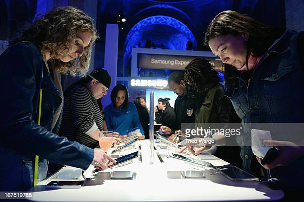 Fans get hands on with the Samsung Galaxy Note 8 at the Samsung Experience Shop Best Buy Official Launch Event at Cunard Hall on April 25 2013 in New...