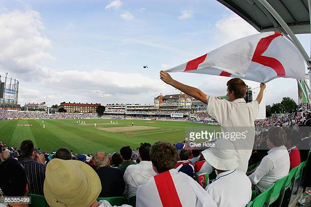 Fans give their support during day five of the fifth npower Ashes Test match between England and Australia at the Brit Oval on September 12 2005 in...
