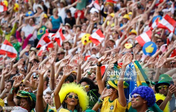 Fans give their support during the Men's Gold medal match between Brazil and Austria on August 06 2017 in Vienna Austria