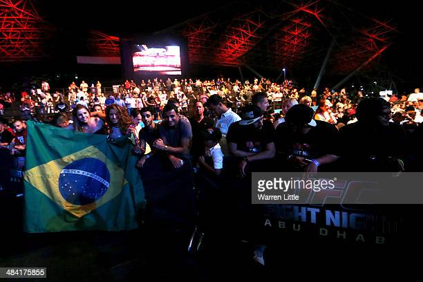 UFC fans hold a Brazil flag before Antonio Rodrigo Nogueira takes on Roy Nelson in their heavyweight bout during UFC Fight Night 39 at du Arena on...