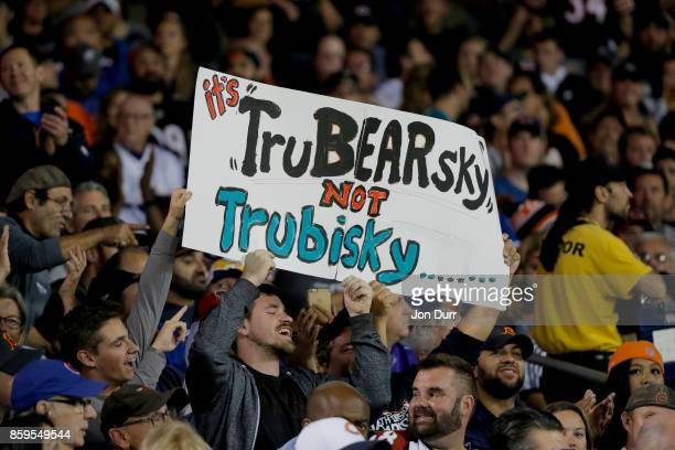Fans hold a sign for quarterback Mitchell Trubisky of the Chicago Bears during the game against the Minnesota Vikings at Soldier Field on October 9...
