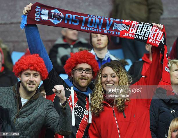 Fans hold the match scarf prior to the FA Cup Fourth Round match between Aston Villa and AFC Bournemouth at Villa Park on January 25 2015 in...