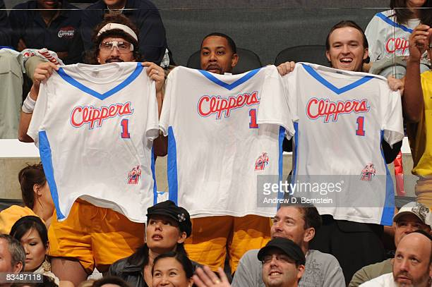 Fans hold up shirts during a game between the Los Angeles Lakers and the Los Angeles Clippers at Staples Center on October 29 2008 in Los Angeles...