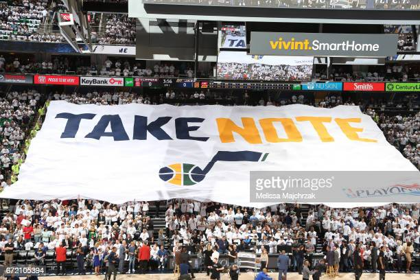 Fans hold up sign before the game between the LA Clippers and the Utah Jazz during Game Four of the Western Conference Quarterfinals of the 2017 NBA...