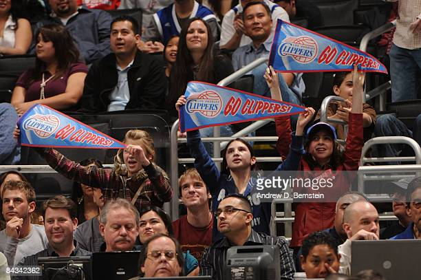 Fans hold up signs during a game between the Milwaukee Bucks and the Los Angeles Clippers at Staples Center on January 17 2009 in Los Angeles...