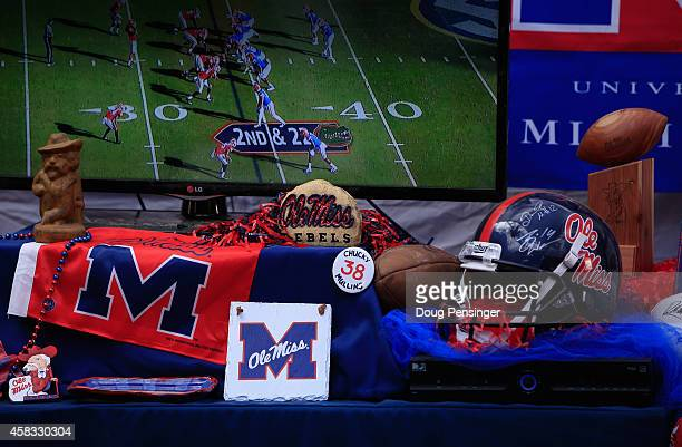 Fans host elaborate pregame parties in The Grove as the Auburn Tigers face the Mississippi Rebels at VaughtHemingway Stadium on November 1 2014 in...