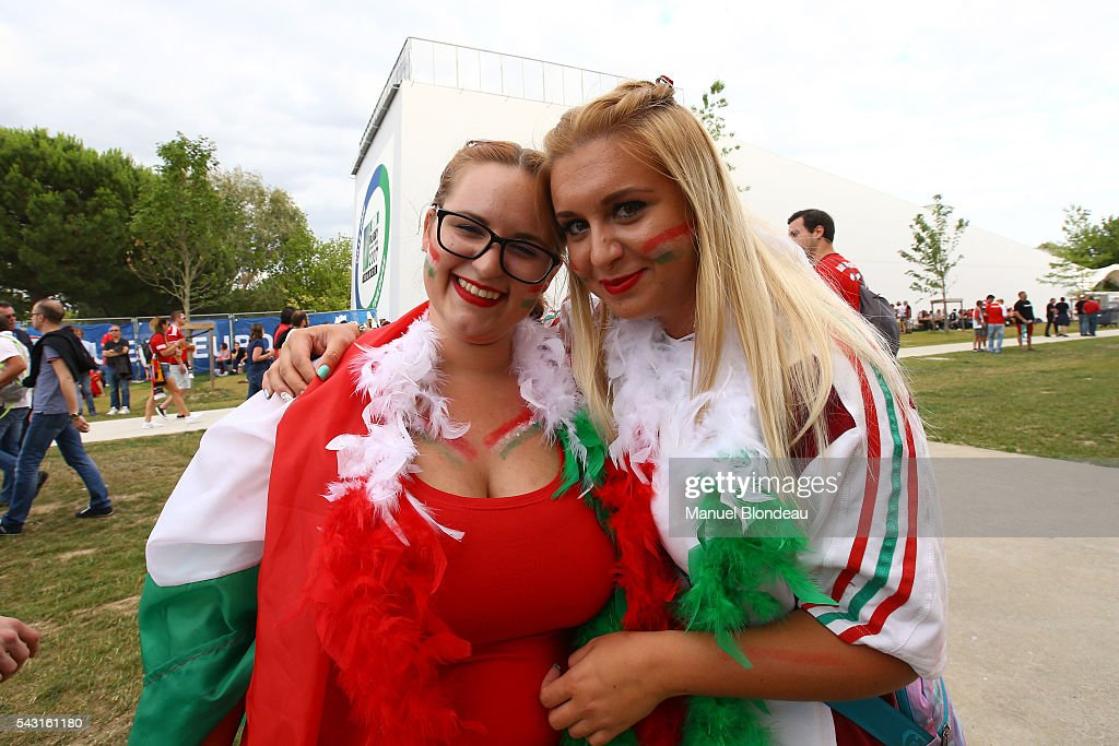Fans Hungary during the European Championship match Round of 16 between Hungary and Belgium at Stadium Municipal on June 26, 2016 in Toulouse, France.