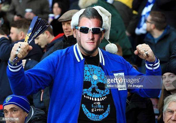 A fans in a face mask of Leicester City's Jamie Vardy in the stands before the Premier League match at the King Power Stadium Leicester