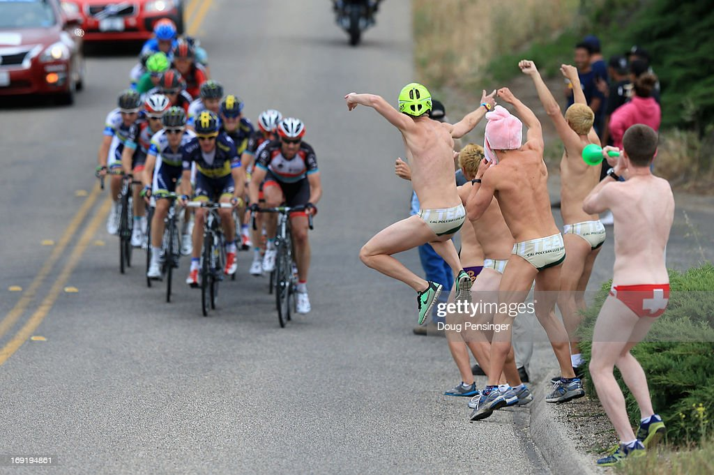 Fans in clad in swim suits cheer the breakaway during Stage Five of the 2013 Amgen Tour of California from Santa Barbara to Avila Beach on May 16, 2013 in San Luis Obispo, California.