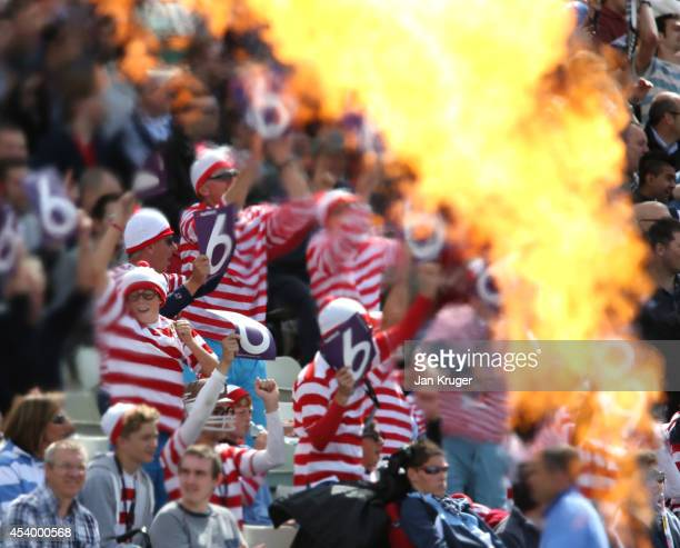 Fans in fancy dress cheer during the Natwest T20 Blast Semi Final match between Birmingham Bears and Surrey at Edgbaston on August 23 2014 in...