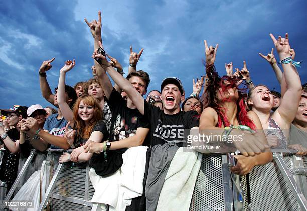 Fans in front of stage during the final day of Rock Im Park Festival at Zeppelinfeld on June 6 2010 in Nuremberg Germany