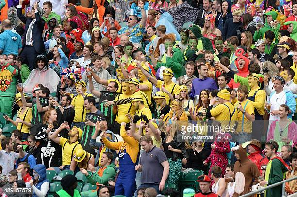 Fans in the crowd during the Marriott London Sevens Day One at Twickenham Stadium on May 10 2014 in London England