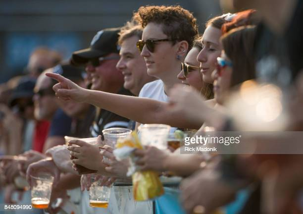 Fans in the end zones line the rail with beers in hand The Toronto Wolfpack 2nd half action as they host the final home game of the inaugural season...