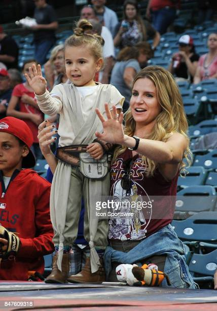 Fans in the stands dressed up for Star Wars night at Angel Stadium of Anaheim before a game between the Texas Rangers and the Los Angeles Angels of...