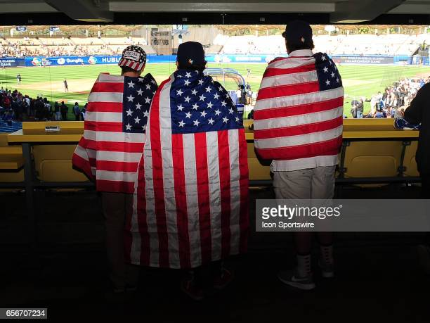 Fans in the stands during batting practice before a World Baseball Classic finals game between team USA and team Puerto Rico on March 22 played at...