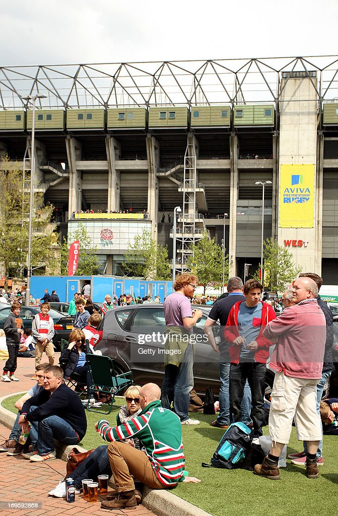 Fans in the West Car Park during the Aviva Premiership Final between Leicester Tigers and Northampton Saints at Twickenham Stadium on May 25, 2013 in London, England.