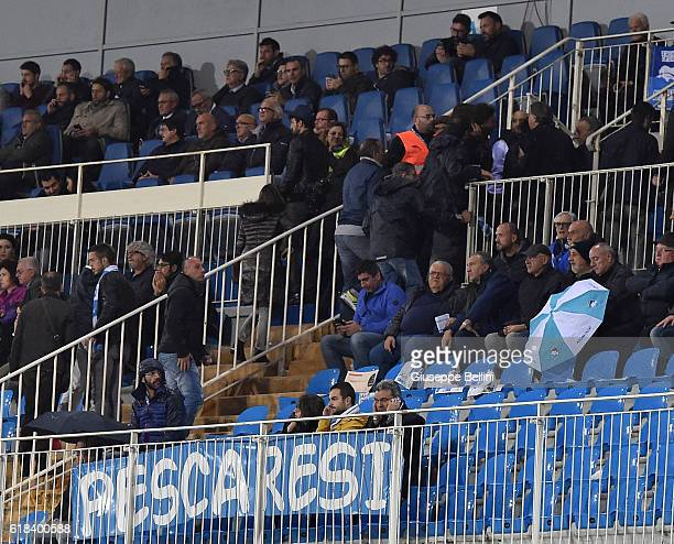Fans leave the stadium after the earthquake during the Serie A match between Pescara Calcio and Atalanta BC at Adriatico Stadium on October 26 2016...