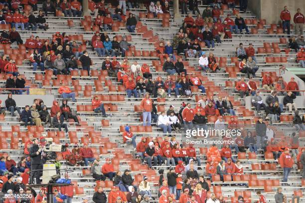 Fans left before the end of the game between the Nebraska Cornhuskers and the Ohio State Buckeyes at Memorial Stadium on October 14 2017 in Lincoln...