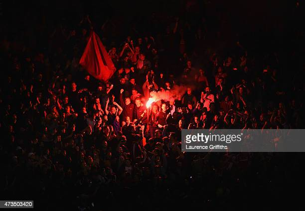Fans light a flare during the Sky Bet Championship Playoff semi final second leg match between Middlesbrough and Brentford at the Riverside Stadium...
