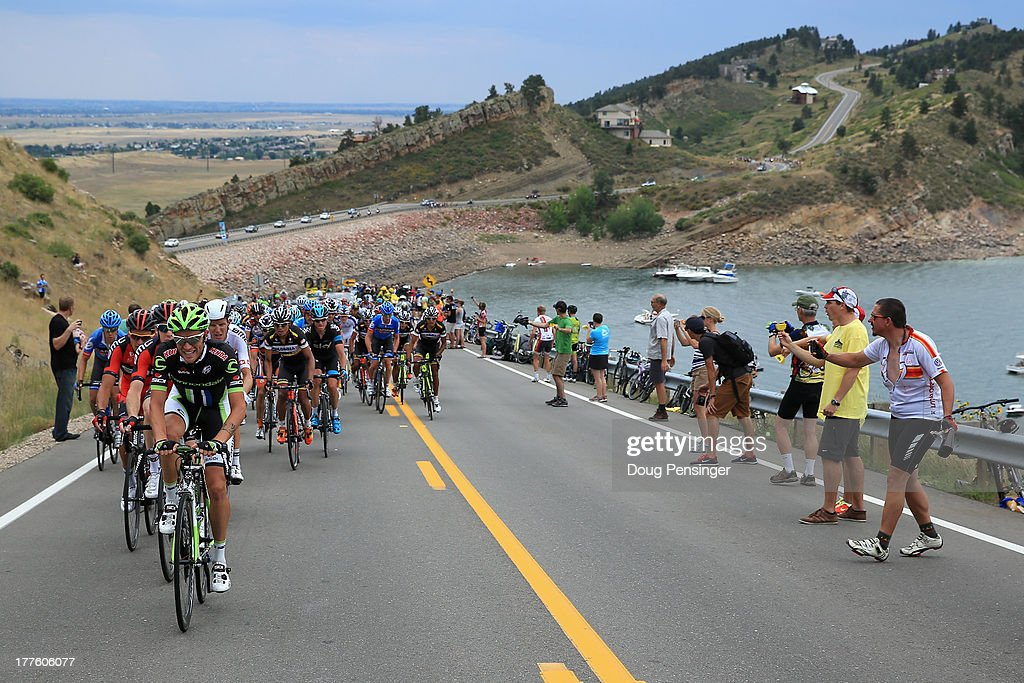 Fans line a climb as the peloton makes its way along Horsetooth Reservoir during stage six of the 2013 USA Pro Challenge from Loveland to Fort Collins on August 24, 2013 in Fort Collins, Colorado.