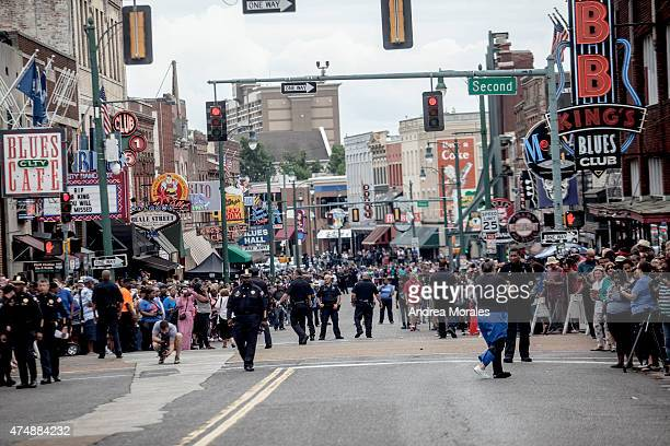 Fans line Beale Street following the memorial in honor of BB King on May 27 2015 in Memphis Tennessee King passed away on May 14 2015 at the age of 89