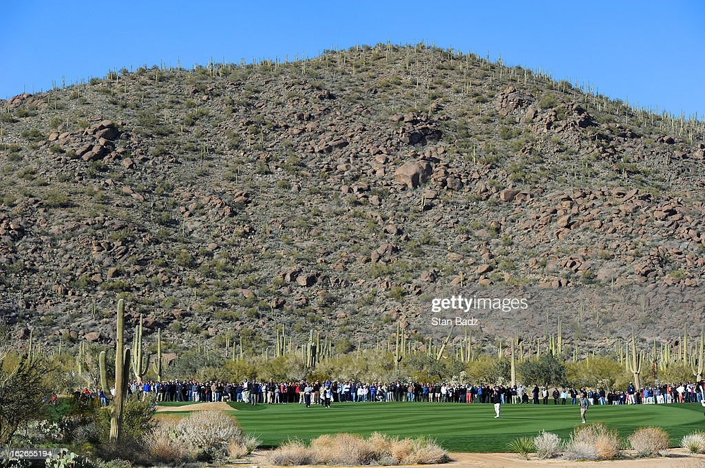Fans line the 17th fairway during the final round of the World Golf Championships-Accenture Match Play Championship at The Golf Club at Dove Mountain on February 24, 2013 in Marana, Arizona.