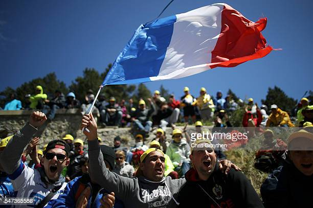 Fans line the road leading up to Mony Vonteaux during stage twelve a 178km stage from Monpellier to ChaletReynard near the Mont Ventoux on July 14...