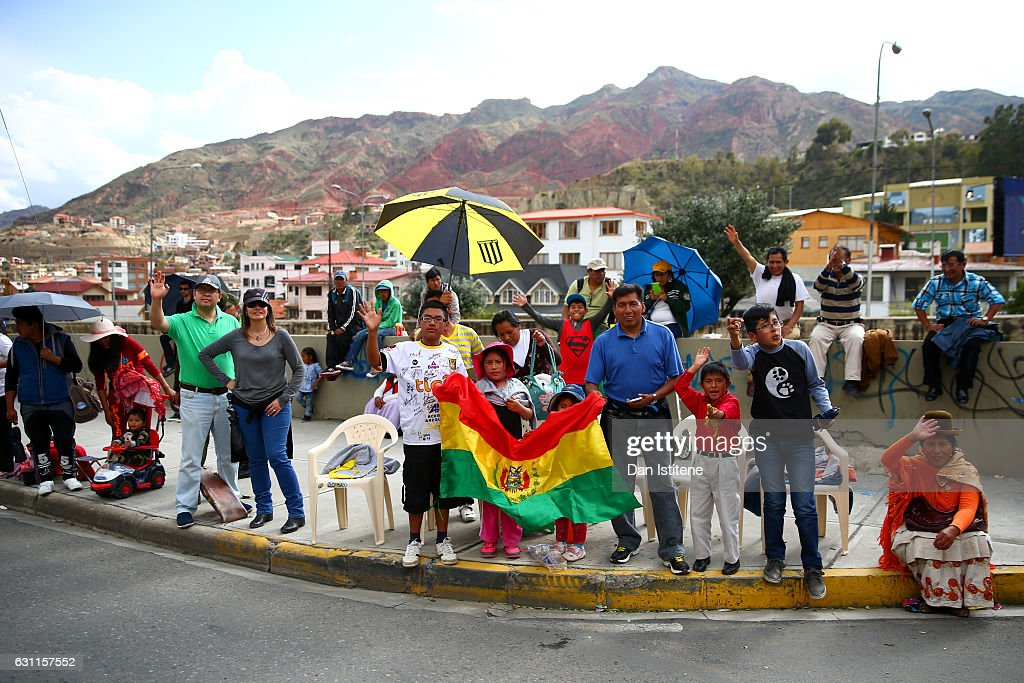 Fans line the streets to greet the riders and drivers after stage six of the 2017 Dakar Rally between Oruro and La Paz was cancelled due to weather condtitons on January 7, 2017 in La Paz, Bolivia.