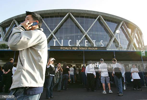 Fans line up at the ticket booth before the Dallas Mavericks and Golden State Warriors Game Three of the Western Conference Quarterfinals during the...