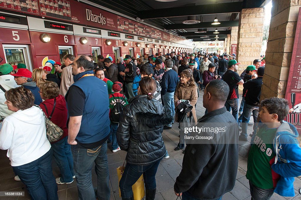 Fans line up at the ticket windows before Pool D, Game 3 between Team Mexico and Team USA at Chase Field on Friday, March 8, 2013 in Phoenix, Arizona.