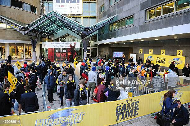 Fans line up for tickets to the 2015 Super Rugby Final at Te Papa on July 1 2015 in Wellington New Zealand Organisers released a final batch of...