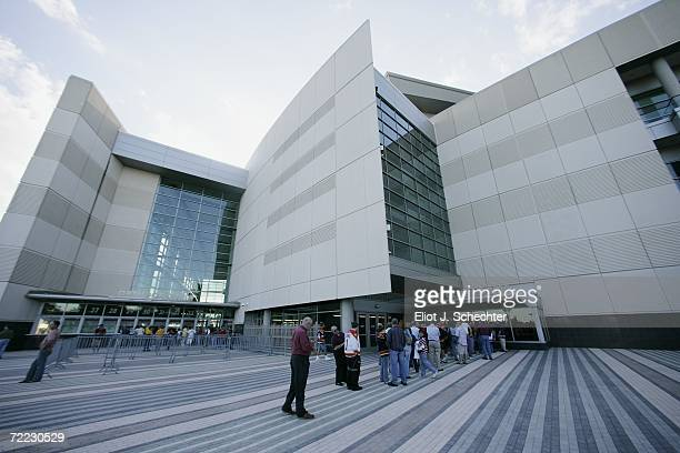 Fans line up in front of BankAtlantic Center before the Boston Bruins game against the Florida Panthers at BankAtlantic Center on October 6 2006 in...