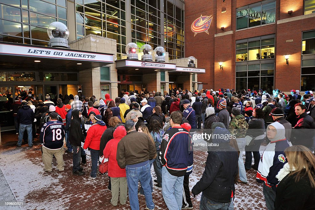 Fans line up outside Nationwide Arena waiting to get in for the Columbus Blue Jackets' home opener against the Detroit Red Wings on January 21, 2013 in Columbus, Ohio.