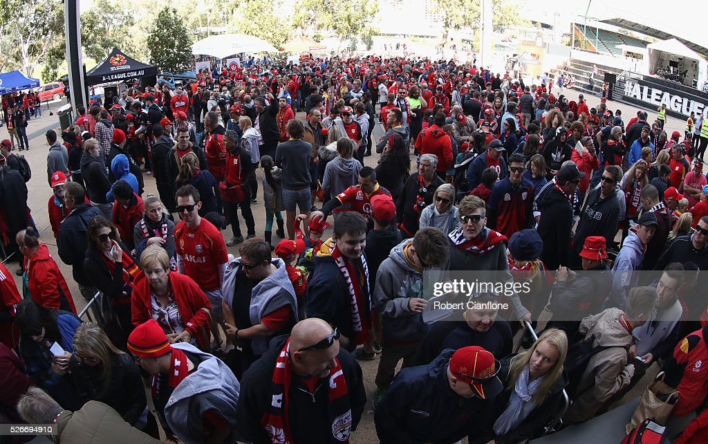 Fans line up prior to the 2015/16 A-League Grand Final match between Adelaide United and the Western Sydney Wanderers at Coopers Stadium on May 1, 2016 in Adelaide, Australia.