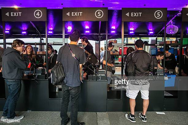 Fans line up to buy limited edition merchandise at The International DOTA 2 Championships on July 20 2014 in Seattle Washington