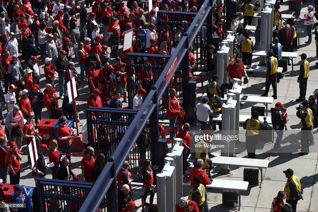 Fans line up to enter Washington's Nationals Park for Opening Day of the Major League Baseball season April 3, 2017 in Washington, DC. The Nationals will play the Miami Marlins in the first game of the year in the nation's capital.