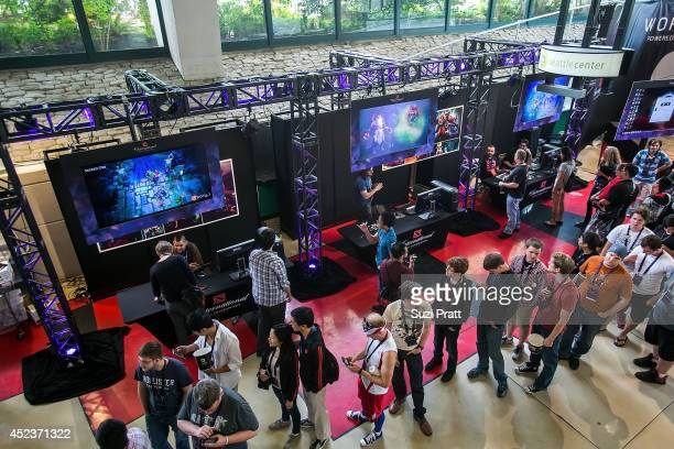 Fans line up to meet their favorite graphic artists at The International DOTA 2 Championships on July 18 2014 in Seattle Washington