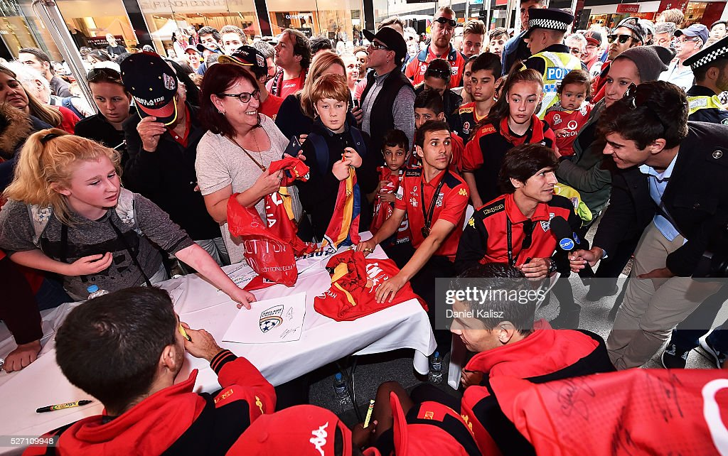 Fans line up to receive autographs during the Adelaide United A-League Grand Final at Rundle Mall on May 2, 2016 in Adelaide, Australia.