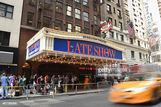 Fans line up under the new marquis for the first taping of 'The Late Show With Stephen Colbert' on September 8 2015 in New York City
