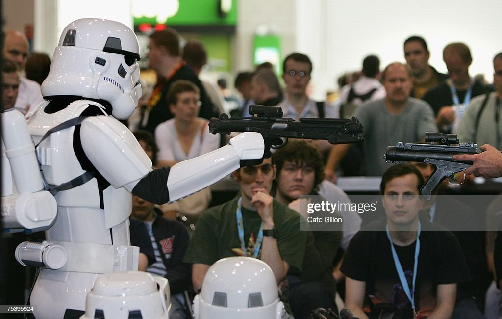 Fans listen to an introduction to the storm trooper costume at the Celebration Europe Exhibition in Excel Centre on July 13 2007 in London England...