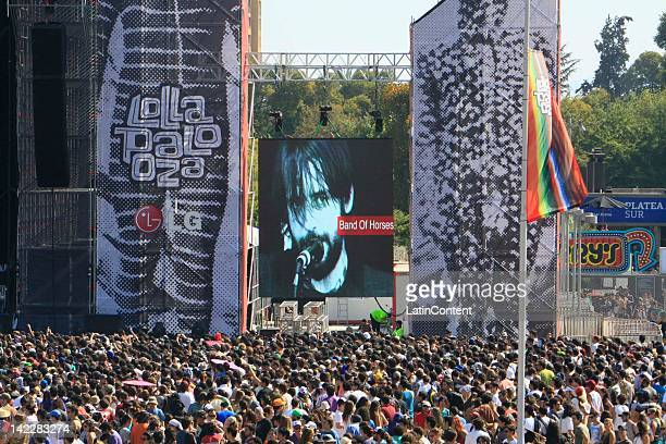 Fans listen to the group Band of Horse in the Lollapalooza music festival at O Higgins Park on April 1 2012 in Santiago Chile