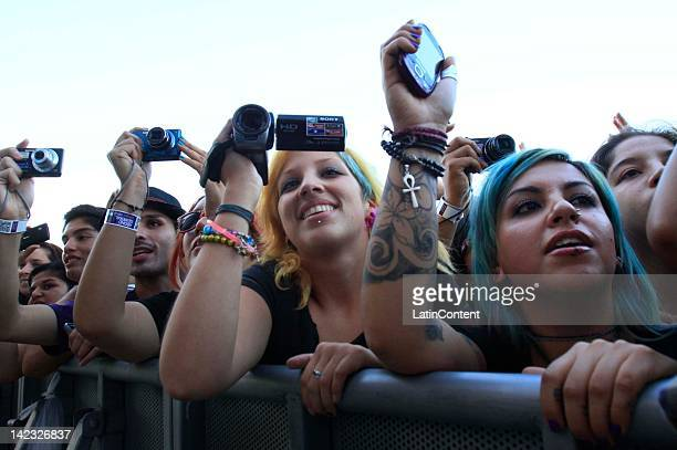 Fans listen to the group MGMT in the Lollapalooza music festival at O Higgins Park on April 1 2012 in Santiago Chile