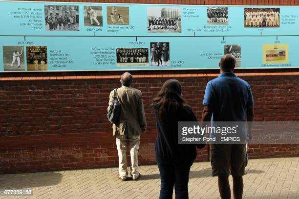 Fans look at the timeline at the Kia Oval